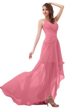 ColsBM Paige Watermelon Romantic One Shoulder Sleeveless Brush Train Ruching Bridesmaid Dresses