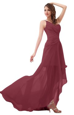 ColsBM Paige Wine Romantic One Shoulder Sleeveless Brush Train Ruching Bridesmaid Dresses