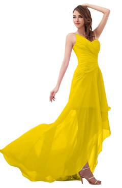 ColsBM Paige Yellow Romantic One Shoulder Sleeveless Brush Train Ruching Bridesmaid Dresses