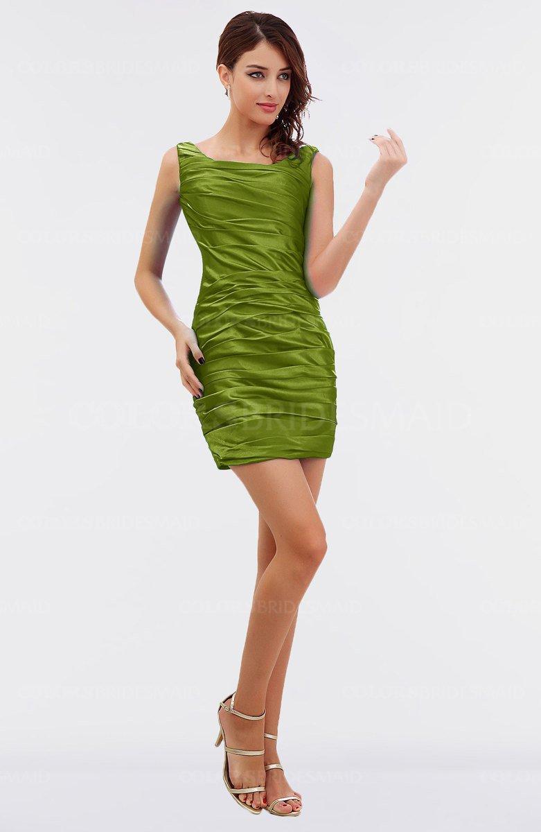 Apple green elegant sheath sleeveless zipper mini ruching for Apple green dress for wedding
