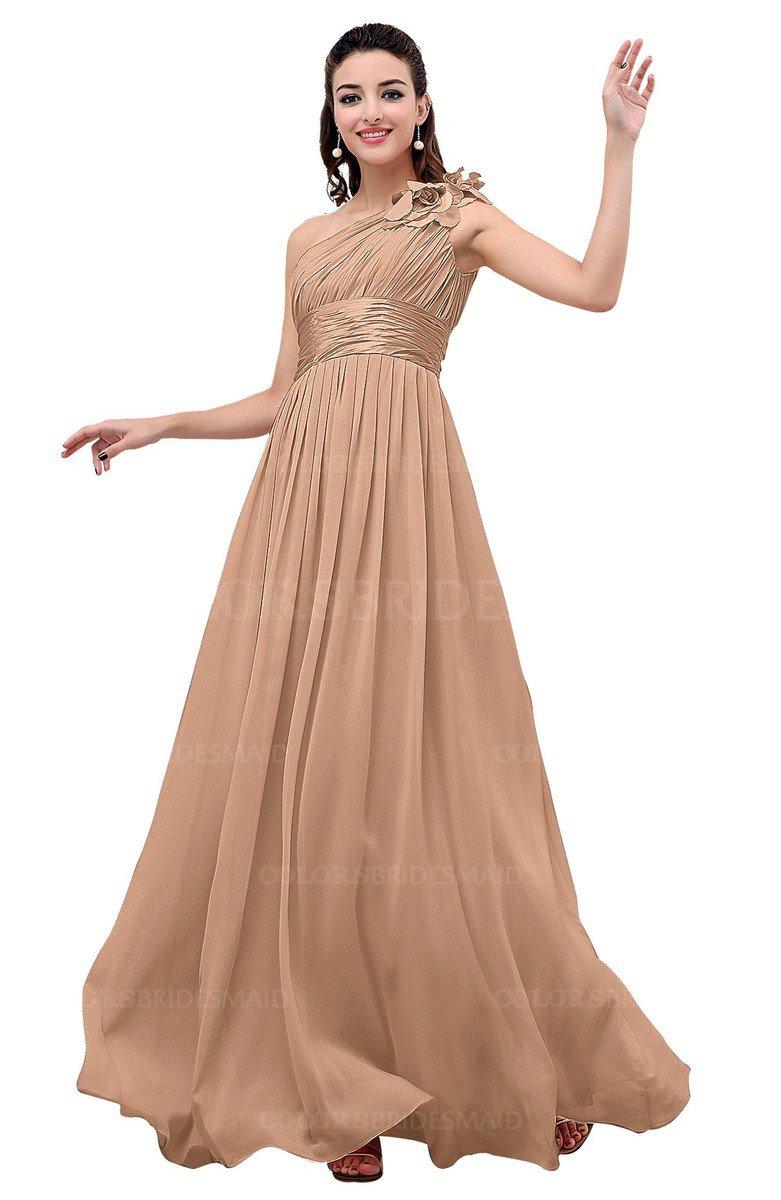 Colsbm Leilani Burnt Orange Cinderella A Line Asymmetric Neckline Sleeveless Zipper Chiffon Bridesmaid Dresses