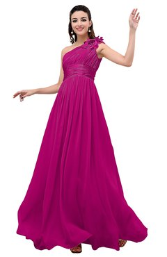 Colsbm Leilani Hot Pink Cinderella A Line Asymmetric Neckline Sleeveless Zipper Chiffon Bridesmaid Dresses