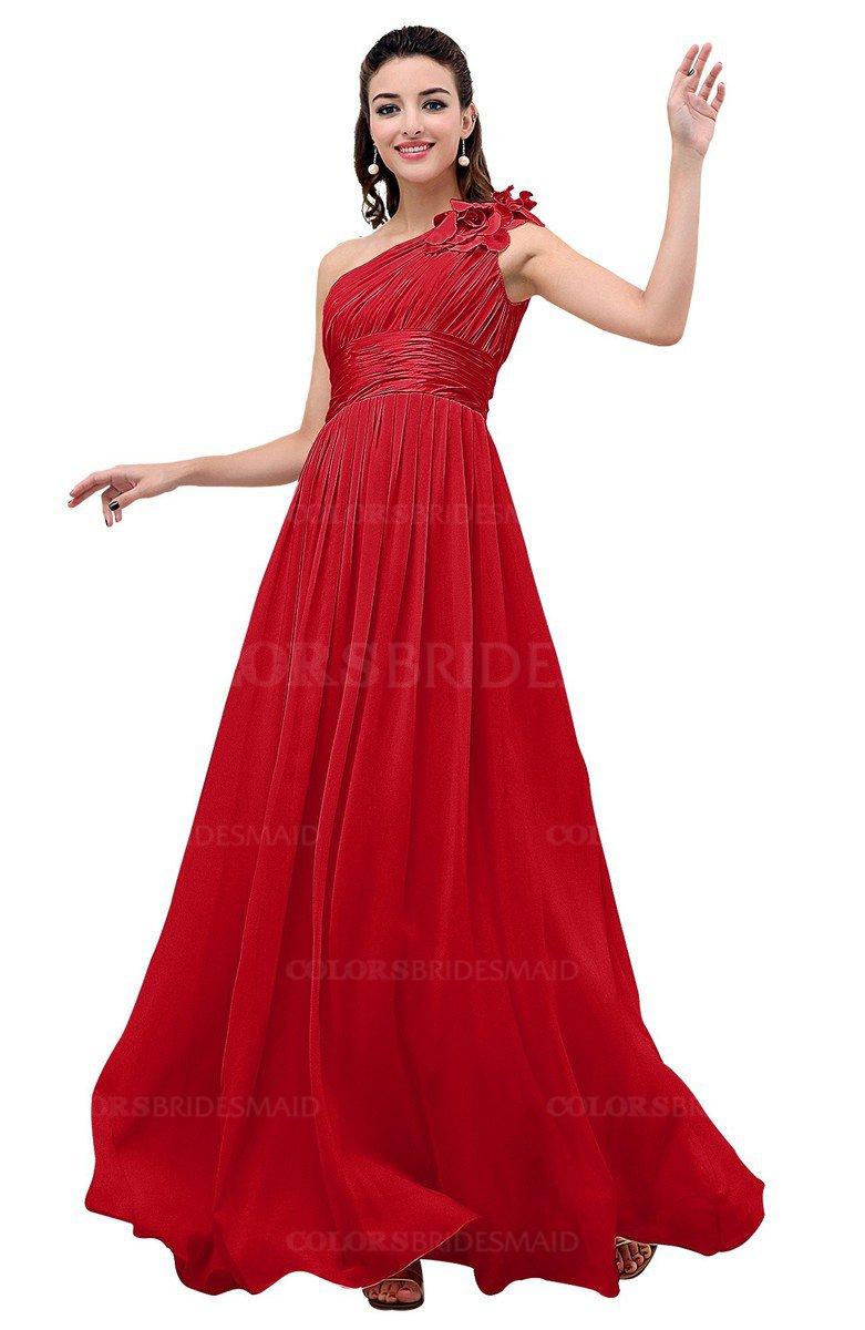 1fdb51198e57 ColsBM Leilani Red Cinderella A-line Asymmetric Neckline Sleeveless Zipper  Chiffon Bridesmaid Dresses