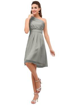 One Shoulder Chiffon Bridesmaid Dress Front and Back