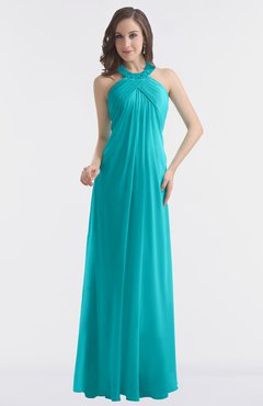 ColsBM Maeve Teal Classic A-line Halter Backless Floor Length Bridesmaid Dresses