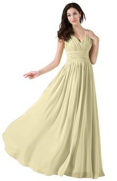 ColsBM Alana Anise Flower Elegant V-neck Sleeveless Zip up Floor Length Ruching Bridesmaid Dresses