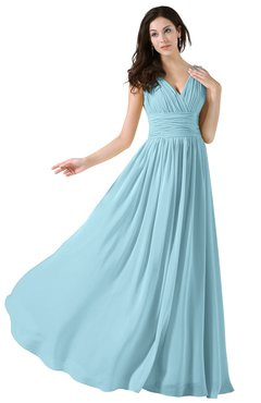 ColsBM Alana Aqua Elegant V-neck Sleeveless Zip up Floor Length Ruching Bridesmaid Dresses