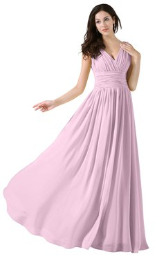ColsBM Alana Baby Pink Elegant V-neck Sleeveless Zip up Floor Length Ruching Bridesmaid Dresses