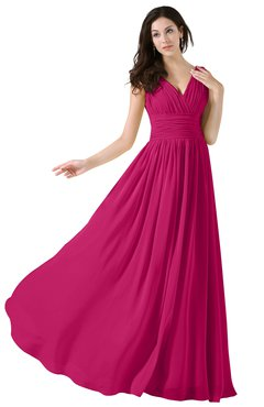 ColsBM Alana Beetroot Purple Elegant V-neck Sleeveless Zip up Floor Length Ruching Bridesmaid Dresses