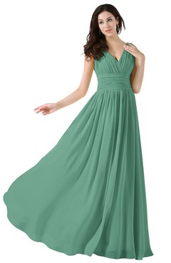 ColsBM Alana Beryl Green Elegant V-neck Sleeveless Zip up Floor Length Ruching Bridesmaid Dresses