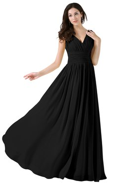ColsBM Alana Black Elegant V-neck Sleeveless Zip up Floor Length Ruching Bridesmaid Dresses