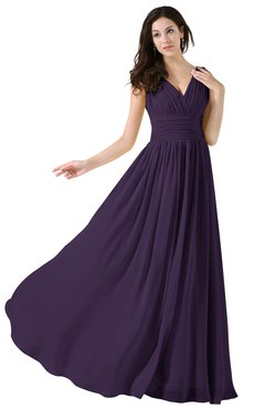ColsBM Alana Blackberry Cordial Elegant V-neck Sleeveless Zip up Floor Length Ruching Bridesmaid Dresses