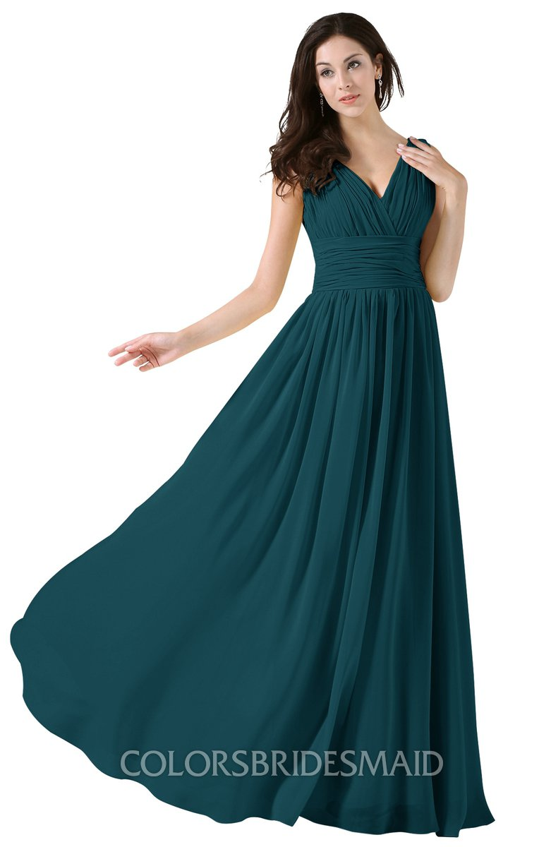 0a277005fe8 ColsBM Alana Blue Green Elegant V-neck Sleeveless Zip up Floor Length  Ruching Bridesmaid Dresses