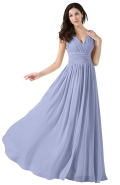 ColsBM Alana Blue Heron Elegant V-neck Sleeveless Zip up Floor Length Ruching Bridesmaid Dresses