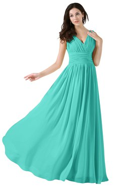 ColsBM Alana Blue Turquoise Elegant V-neck Sleeveless Zip up Floor Length Ruching Bridesmaid Dresses