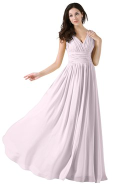 ColsBM Alana Blush Elegant V-neck Sleeveless Zip up Floor Length Ruching Bridesmaid Dresses