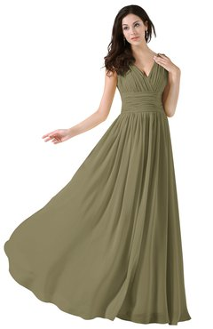 ColsBM Alana Boa Elegant V-neck Sleeveless Zip up Floor Length Ruching Bridesmaid Dresses