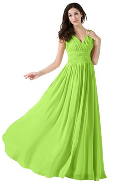 ColsBM Alana Bright Green Elegant V-neck Sleeveless Zip up Floor Length Ruching Bridesmaid Dresses