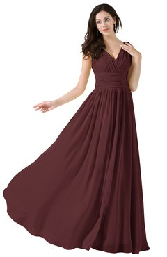 ColsBM Alana Burgundy Elegant V-neck Sleeveless Zip up Floor Length Ruching Bridesmaid Dresses