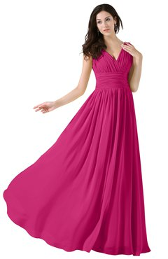 ColsBM Alana Cabaret Elegant V-neck Sleeveless Zip up Floor Length Ruching Bridesmaid Dresses