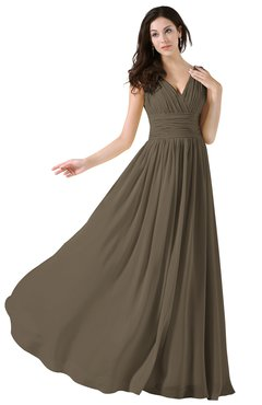 ColsBM Alana Carafe Brown Elegant V-neck Sleeveless Zip up Floor Length Ruching Bridesmaid Dresses
