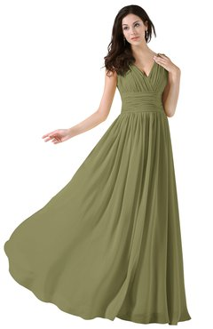 ColsBM Alana Cedar Elegant V-neck Sleeveless Zip up Floor Length Ruching Bridesmaid Dresses