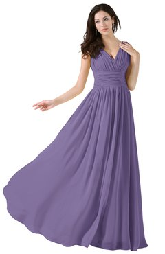 ColsBM Alana Chalk Violet Elegant V-neck Sleeveless Zip up Floor Length Ruching Bridesmaid Dresses