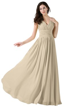 ColsBM Alana Champagne Elegant V-neck Sleeveless Zip up Floor Length Ruching Bridesmaid Dresses