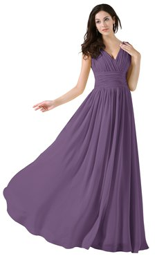 ColsBM Alana Chinese Violet Elegant V-neck Sleeveless Zip up Floor Length Ruching Bridesmaid Dresses