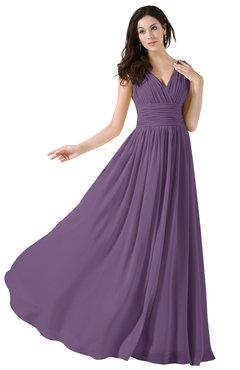 ColsBM Alana Chinese Violet Elegant V-neck Sleeveless Zip up Floor Length Ruching Bridesmaid Dresses