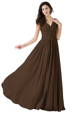 60fa5e4c96c ColsBM Alana Chocolate Brown Elegant V-neck Sleeveless Zip up Floor Length  Ruching Bridesmaid Dresses