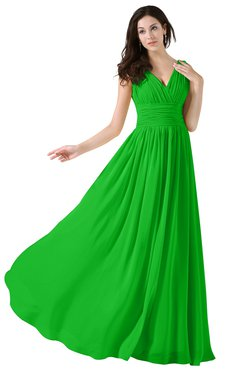 ColsBM Alana Classic Green Elegant V-neck Sleeveless Zip up Floor Length Ruching Bridesmaid Dresses