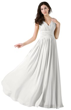 ColsBM Alana Cloud White Elegant V-neck Sleeveless Zip up Floor Length Ruching Bridesmaid Dresses