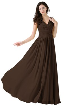ColsBM Alana Copper Elegant V-neck Sleeveless Zip up Floor Length Ruching Bridesmaid Dresses