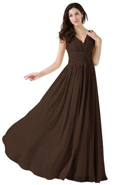 ColsBM Alana Copper Elegant V-neck Sleeveless Zip up Floor Length Ruching Bridesmaid Dresses