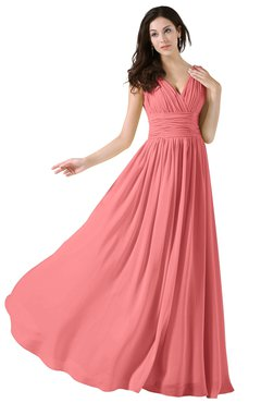 ColsBM Alana Coral Elegant V-neck Sleeveless Zip up Floor Length Ruching Bridesmaid Dresses