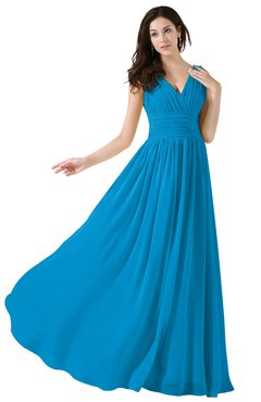 ColsBM Alana Cornflower Blue Elegant V-neck Sleeveless Zip up Floor Length Ruching Bridesmaid Dresses