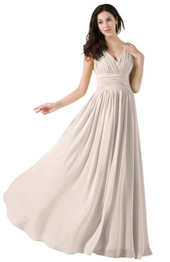 ColsBM Alana Cream Pink Elegant V-neck Sleeveless Zip up Floor Length Ruching Bridesmaid Dresses
