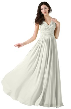 Colsbm Alana Cream Elegant V Neck Sleeveless Zip Up Floor Length Ruching Bridesmaid Dresses