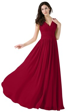 ColsBM Alana Dark Red Elegant V-neck Sleeveless Zip up Floor Length Ruching Bridesmaid Dresses
