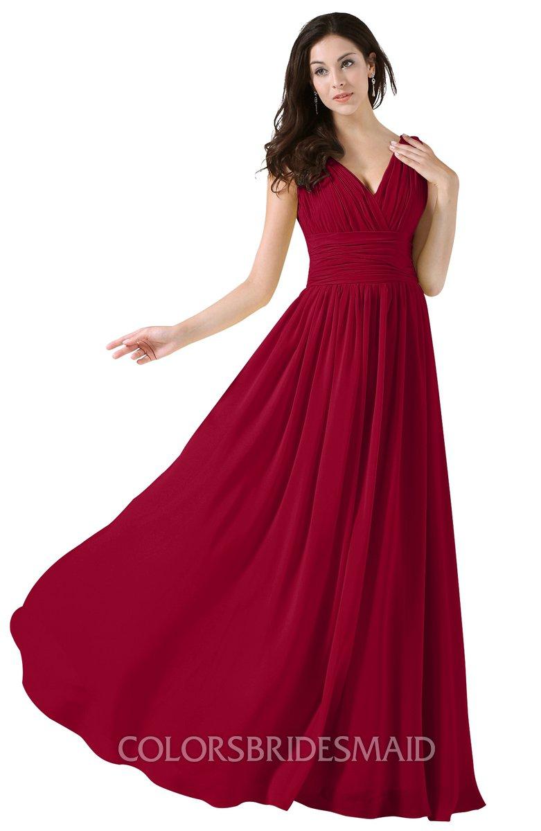 e8938c3319ecf ColsBM Alana Dark Red Elegant V-neck Sleeveless Zip up Floor Length Ruching Bridesmaid  Dresses