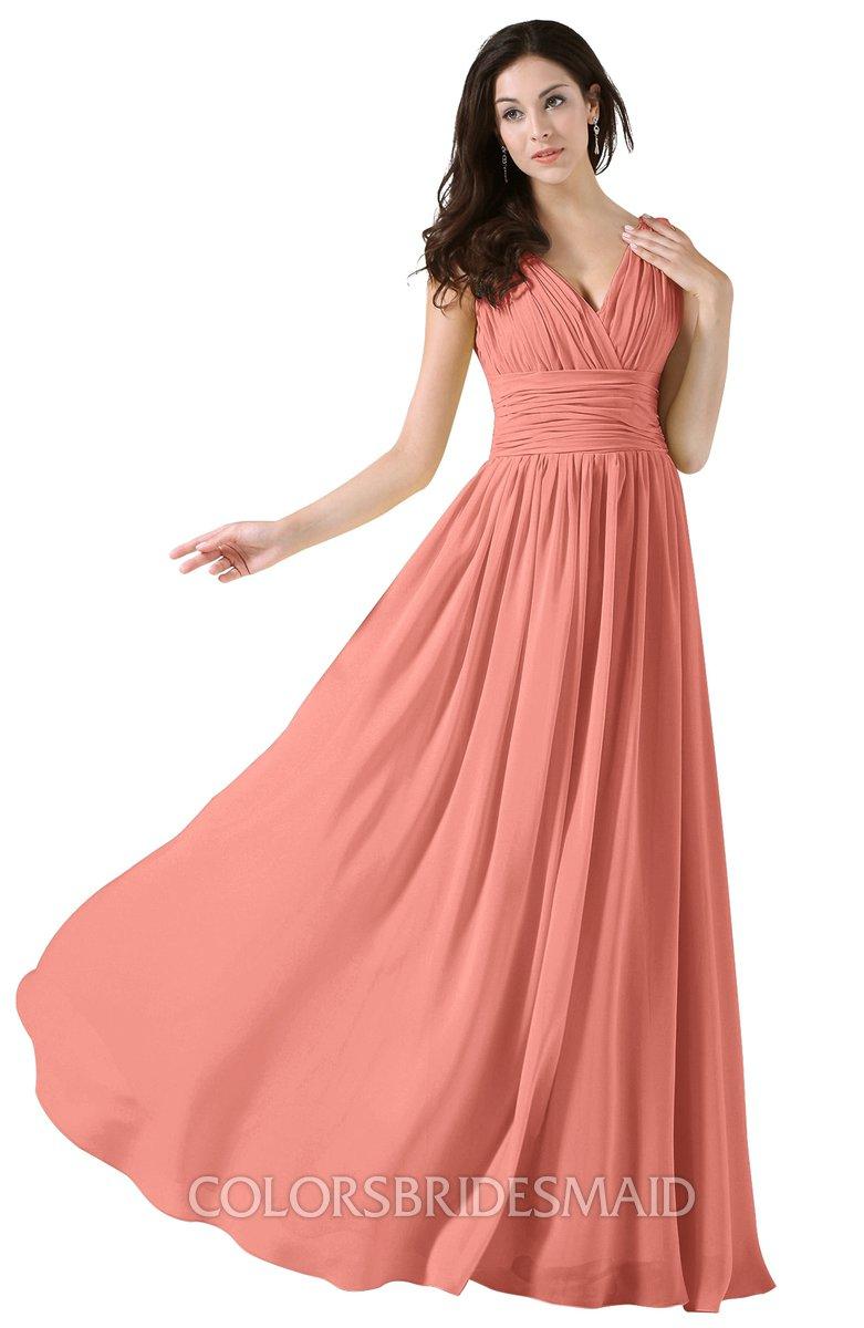 0e401dddd13 ColsBM Alana Desert Flower Elegant V-neck Sleeveless Zip up Floor Length  Ruching Bridesmaid Dresses