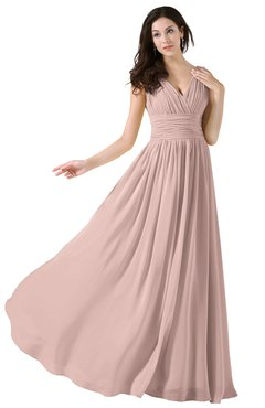 ColsBM Alana Dusty Rose Elegant V-neck Sleeveless Zip up Floor Length Ruching Bridesmaid Dresses