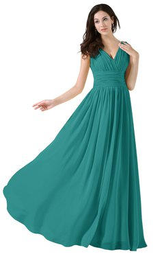 ColsBM Alana Emerald Green Elegant V-neck Sleeveless Zip up Floor Length Ruching Bridesmaid Dresses