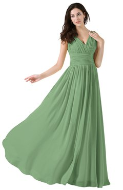 ColsBM Alana Fair Green Elegant V-neck Sleeveless Zip up Floor Length Ruching Bridesmaid Dresses