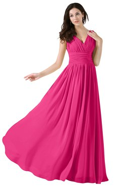 ColsBM Alana Fandango Pink Elegant V-neck Sleeveless Zip up Floor Length Ruching Bridesmaid Dresses