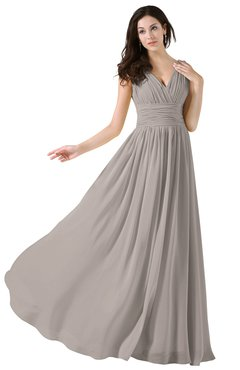 ColsBM Alana Fawn Elegant V-neck Sleeveless Zip up Floor Length Ruching Bridesmaid Dresses