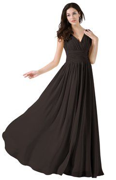 ColsBM Alana Fudge Brown Elegant V-neck Sleeveless Zip up Floor Length Ruching Bridesmaid Dresses