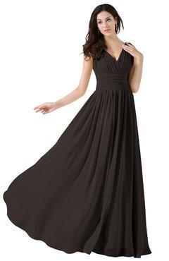 ColsBM Alana Fudge Brown Elegant V-neck Sleeveless Zip up Floor Length Ruching Bridesmaid Dresses