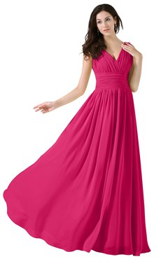ColsBM Alana Fuschia Elegant V-neck Sleeveless Zip up Floor Length Ruching Bridesmaid Dresses